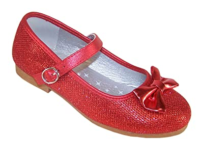 f17f2a4a9 Amazon.com | Girls' Red Sparkly Occasion Dress Party Shoes Dorothy Style  Synthetic Flats | Flats