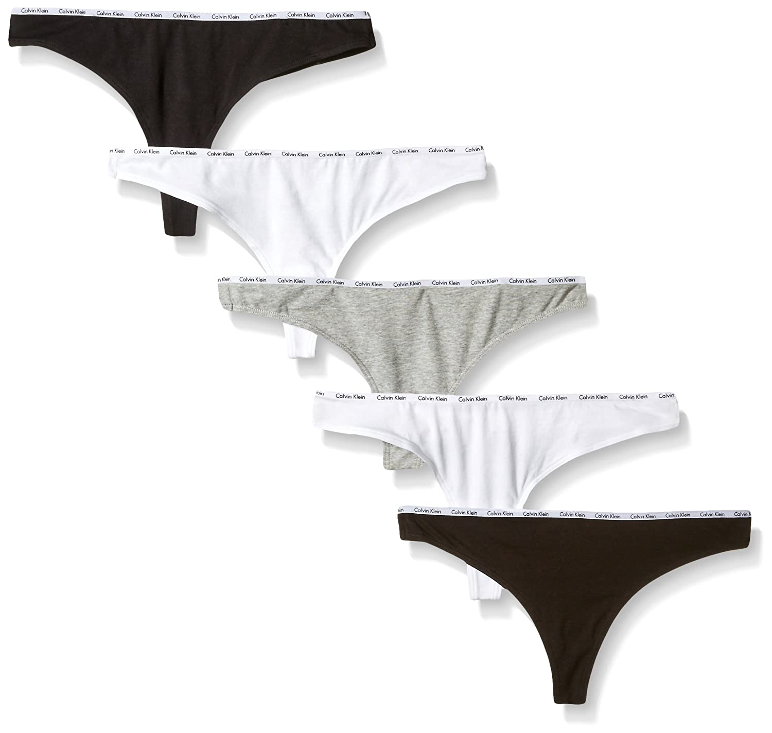 Calvin Klein Womens Standard Signature Cotton 5 Pack Thong QP1519O