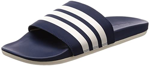 Adidas Adilette Cloudfoam Plus Stripes, Scarpe da Spiaggia e Piscina Uomo, Blu Chalk White