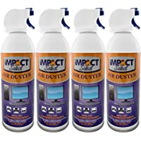 Impact Select Air Duster Compressed Canned Air Keyboard Computer Cleaner Dust Off 10oz Can with Straw (4 Pack)