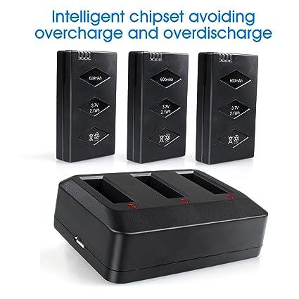 morpilot MiniDrone batería, 3PCS 3.7V 600mAh 20C Litio Batería ...