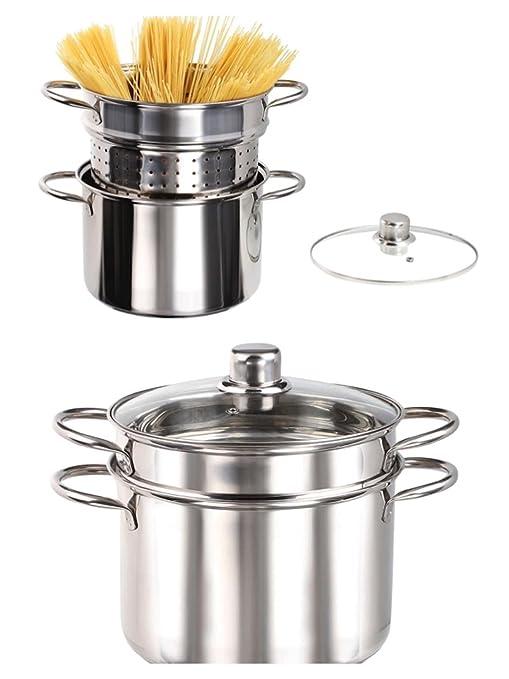 Inducción olla para espaguetis - Olla con colador Acero ...