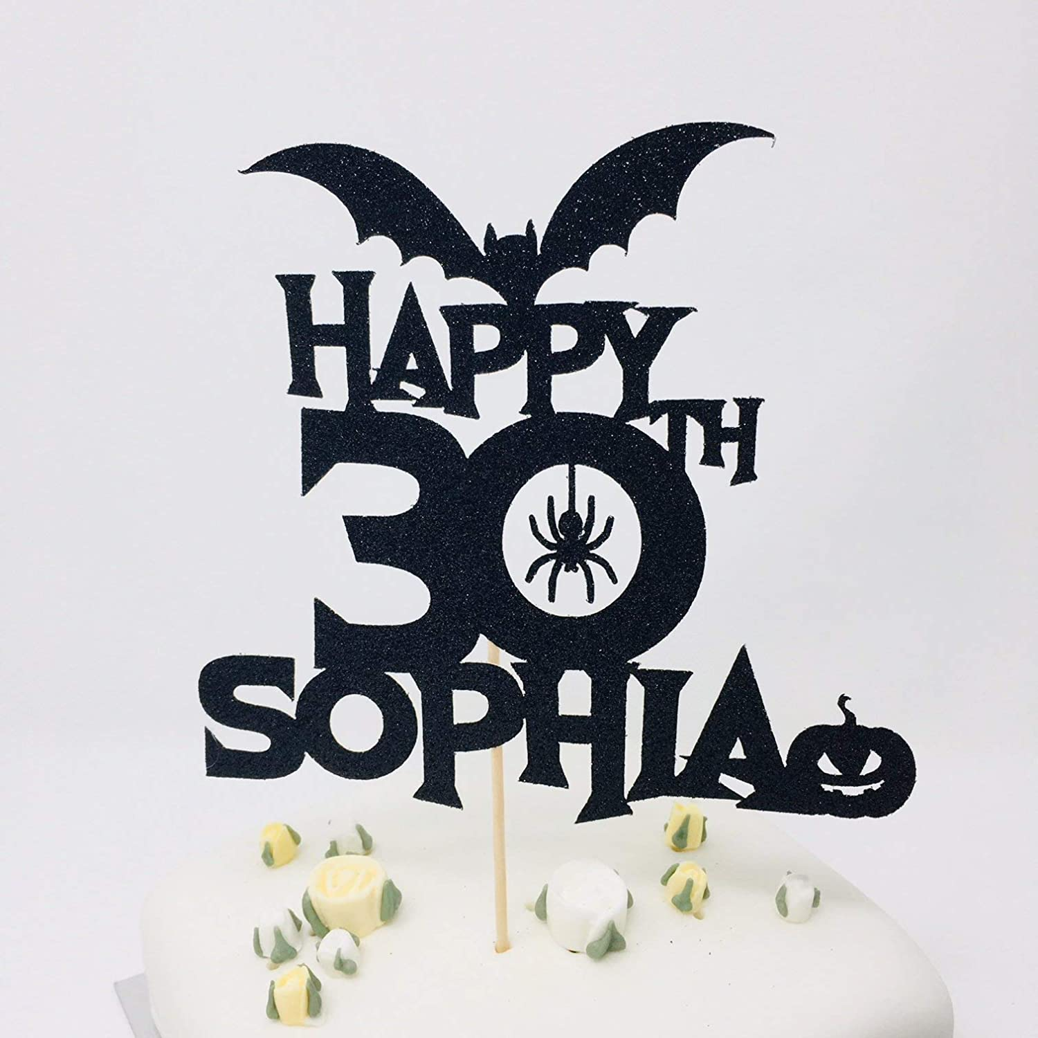 Prime Personalised Name And Age Halloween Birthday Cake Topper 20Th Funny Birthday Cards Online Barepcheapnameinfo