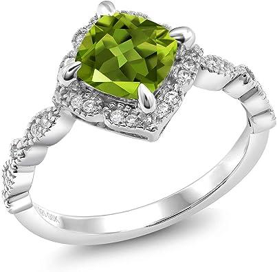 Amazon.com: 2.04 ct cojín Peridoto Verde 925 Chapado en ...