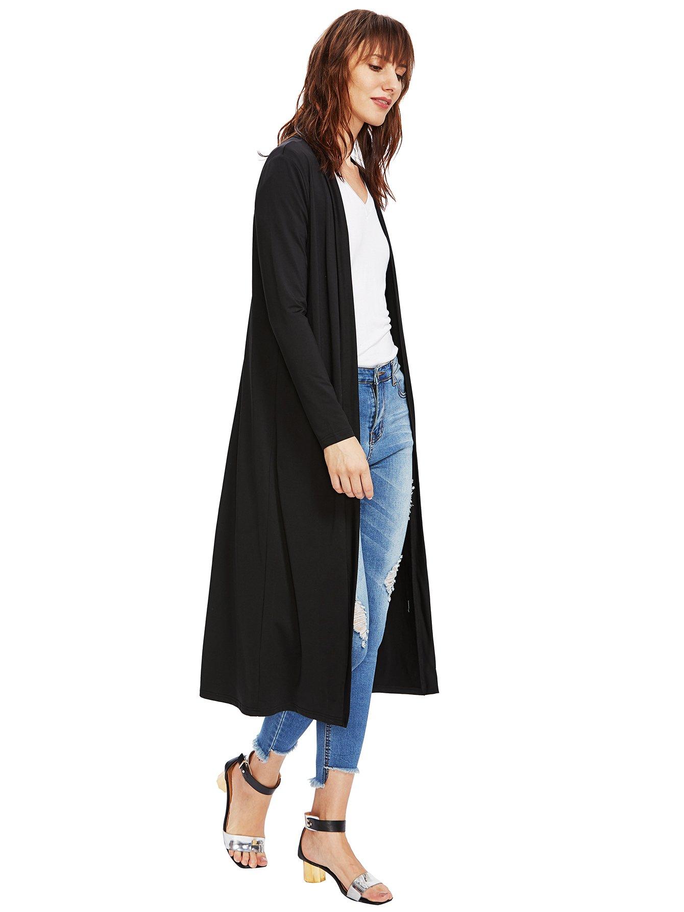 Verdusa Women's Long Sleeve Open Front Long Maxi Cardigan Longline Duster Coat Black M by Verdusa (Image #6)