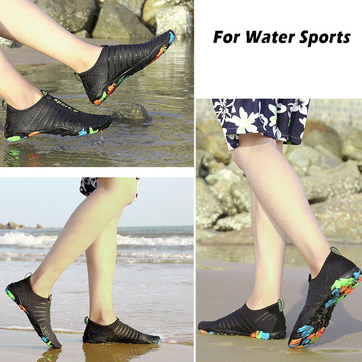 Voovix Chaussures Aquatiques Hommes Femmes Chaussons de Plage L/égers Respirants Aqua Shoes Antid/érapantes pour Natation Piscine Surf Yoga