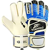 Tompro Extreme Grip Roll Finger Protection Removable Spines Goalkeeper Gloves White/Royal Blue/Black Size 9