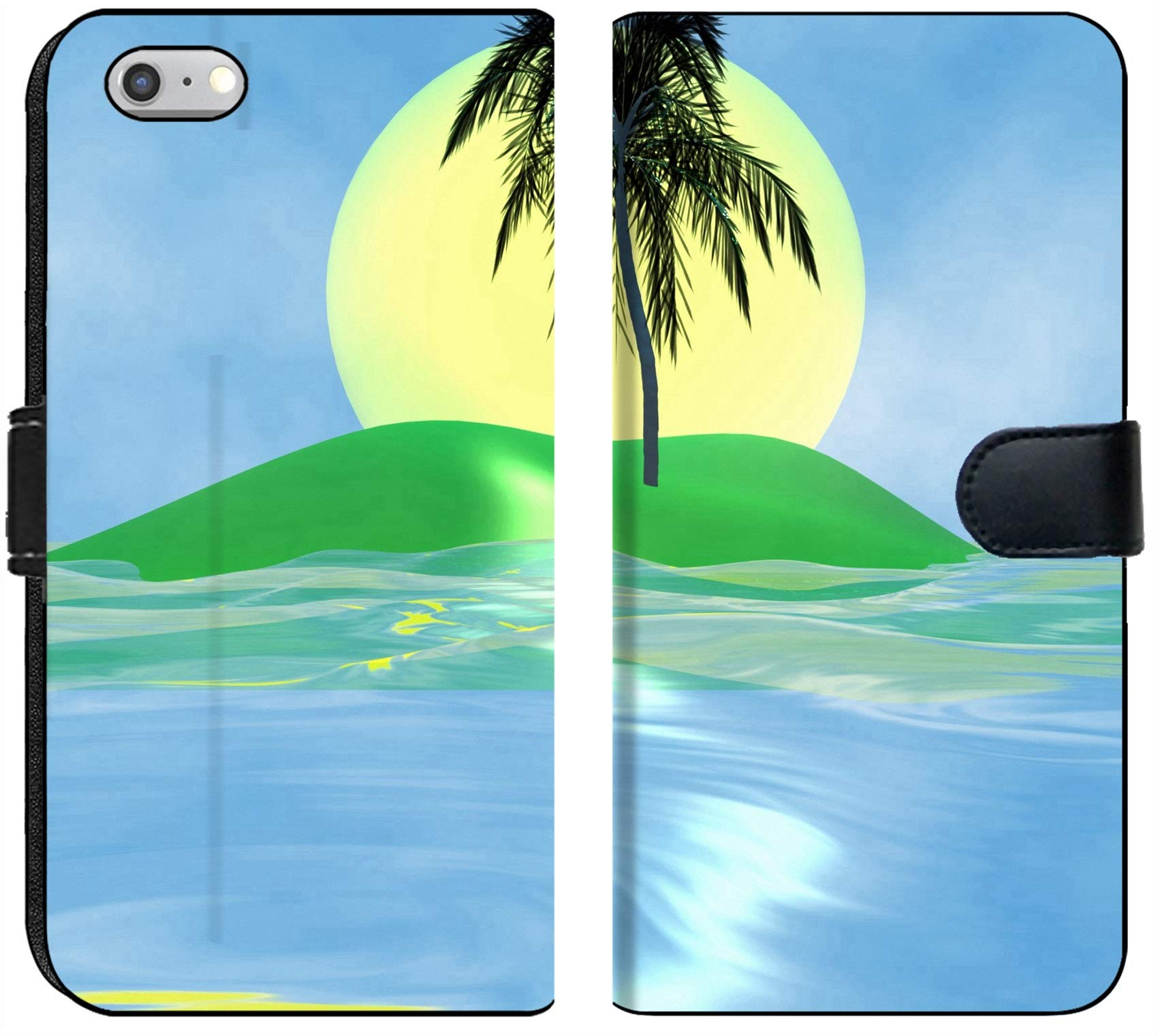 Luxlady iPhone 6 Plus / 6s Plus Flip Fabric Wallet Case Solar Island with a Palm Tree in The Huge Dark Blue sea Image ID 2842537