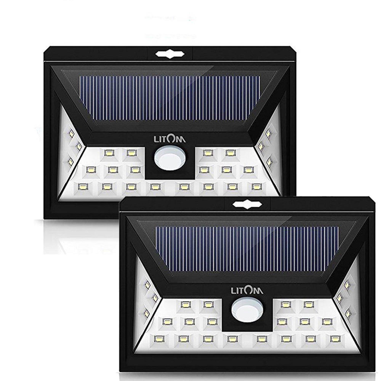 LITOM Solar Garden Light 24LED x 2Packs Motion Sensor Wide Angle Waterproof Night Lantern Parthway Patio Lawn Outdoor Illumination Power Save