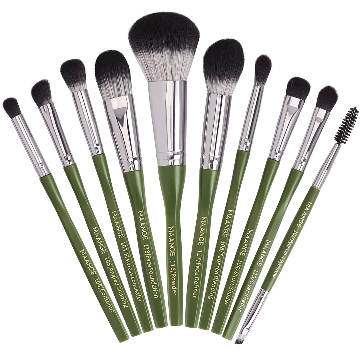 Makeup Brushes, MAANGE 10Pcs Makeup Brush Set Premium Synthetic Foundation Contour Highlight Professional Makeup Brush Set for Women Girl (Green)