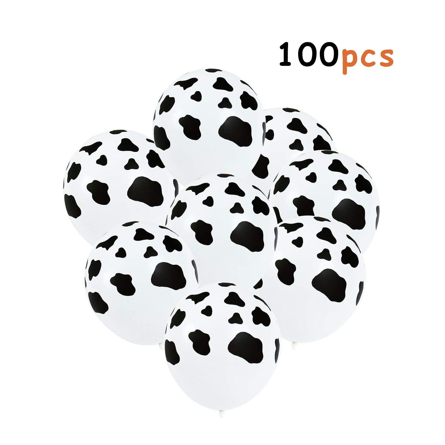 Muhuyi 12 Inches Funny Cow Print Latex Balloons for Children's Birthday Farm Animal Theme Party Supplies Decoration (100 Pieces)