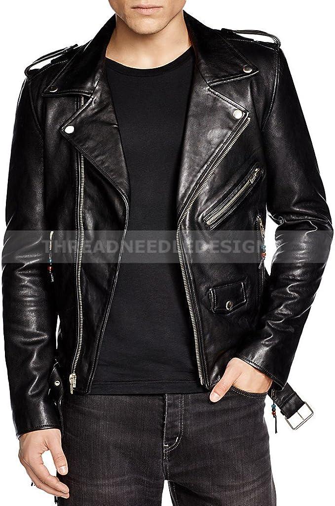 Kingdom Leather Mens Leather Jacket Slim Fit Biker Motorcycle Genuine Lambskin Jacket Coat X1462