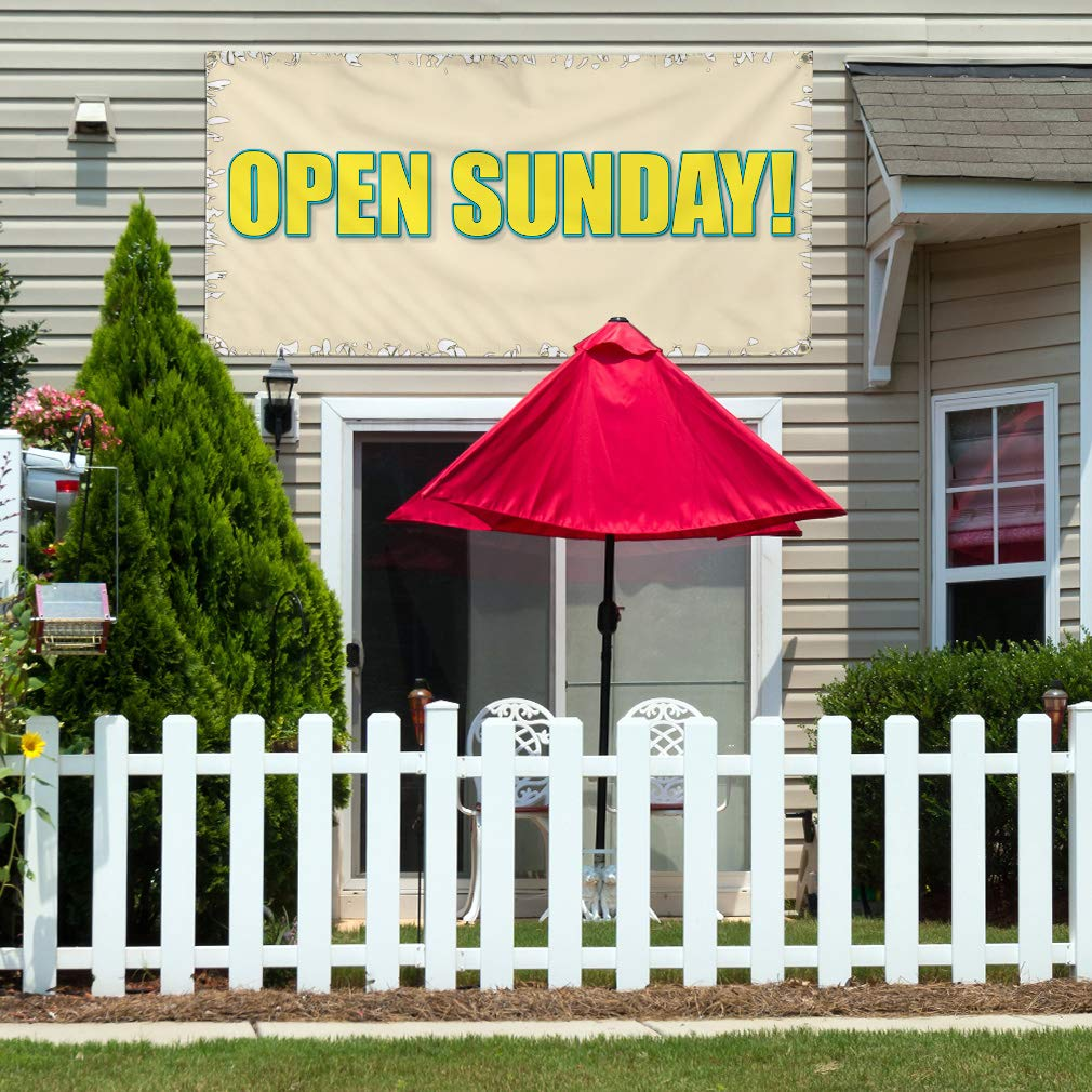Multiple Sizes Available Vinyl Banner Sign Open Sunday 24inx60in Set of 3 #5 Business Open Sunday Marketing Advertising White//Grey 4 Grommets