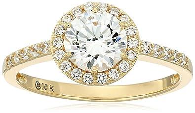 a1514c565162dc Amazon.com: 10k Gold Swarovski Zirconia Round-Cut Halo Ring: Jewelry