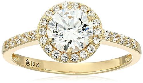10k Gold Swarovski Zirconia Round-Cut Halo Ring