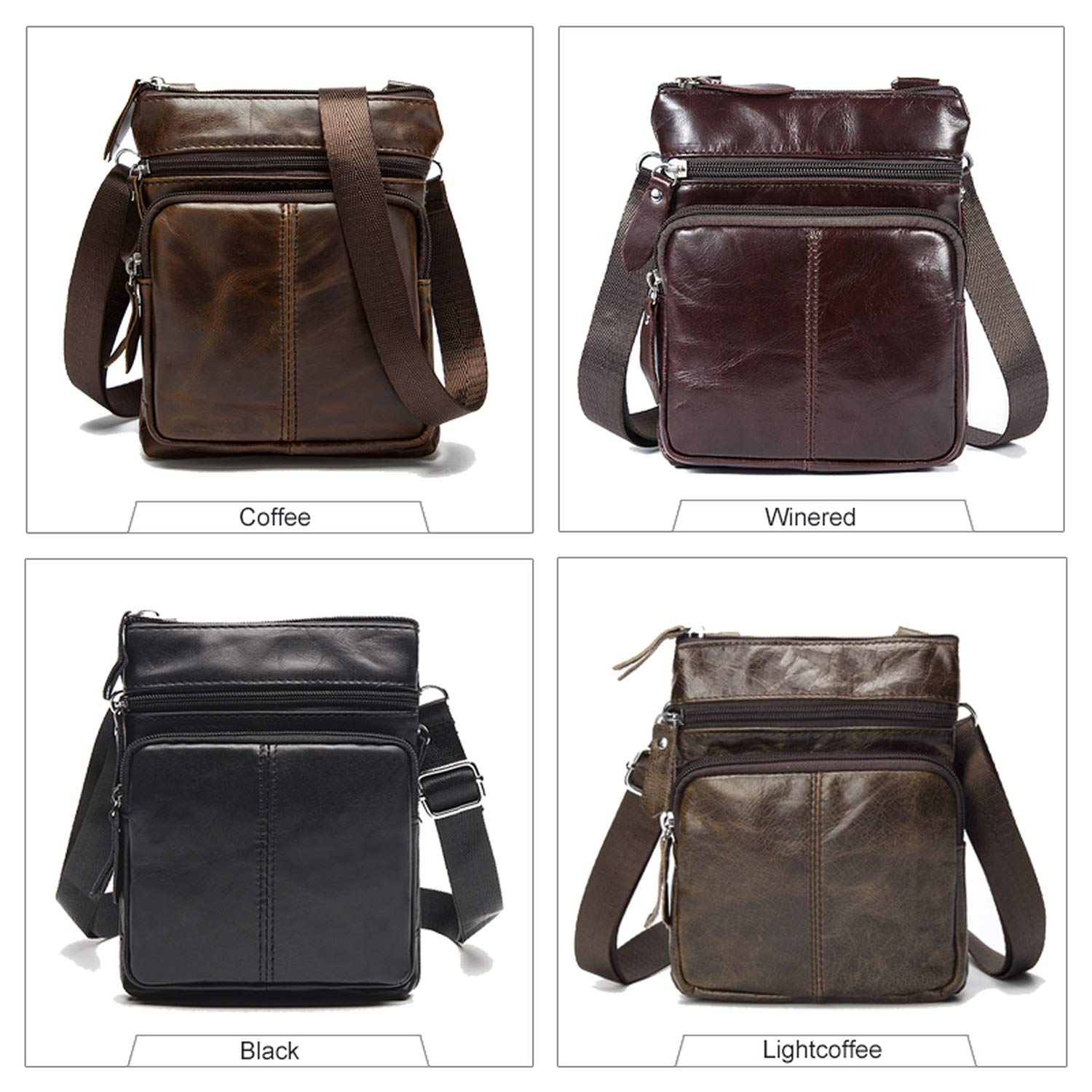 Messenger Bag MenS Shoulder Leather Bags Flap Crossbody Bags For Men Bag,701R4 Light Coffee,16Cm