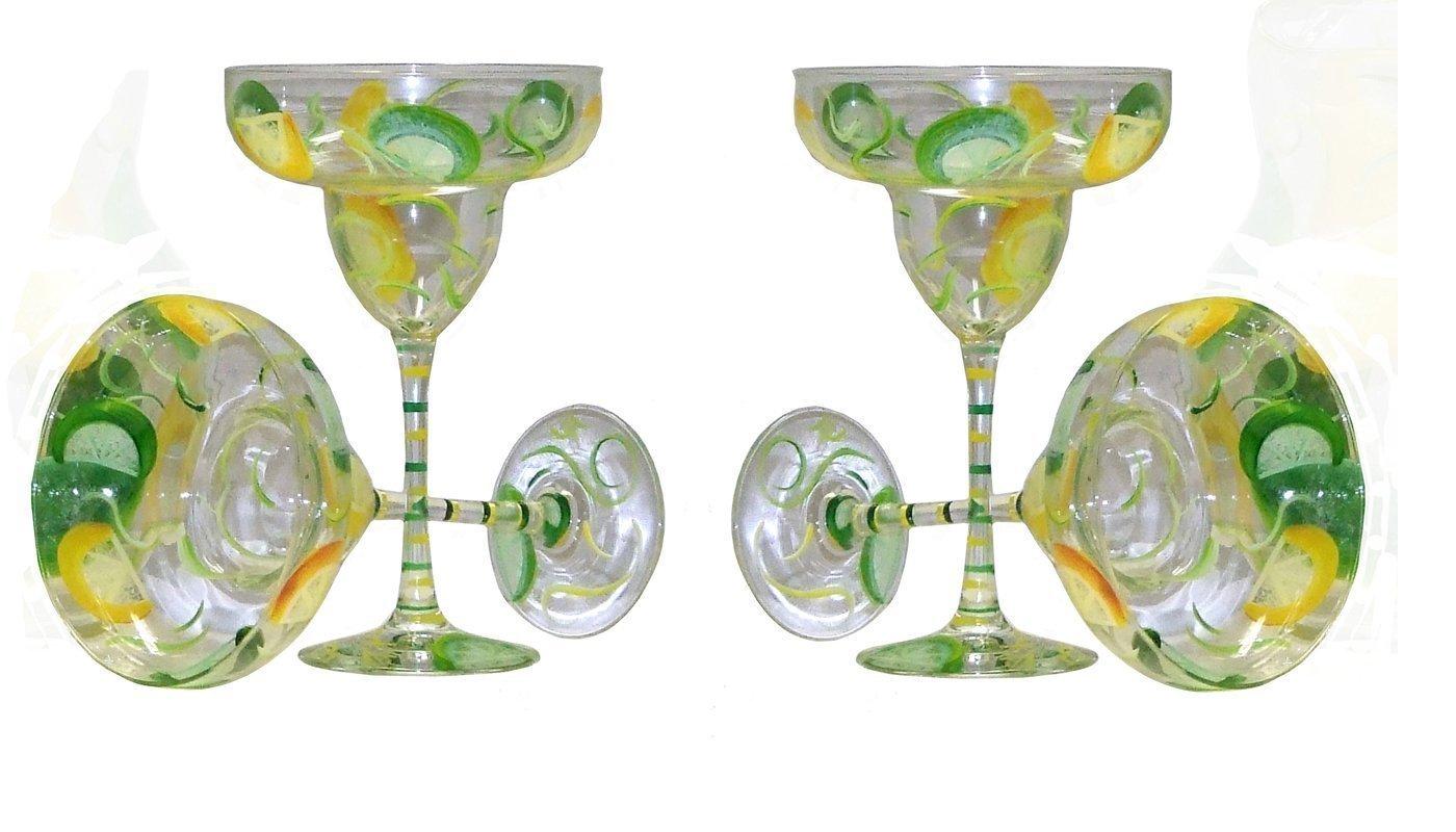 Lemon & Lime Margarita Glasses. Set of 4. Hand Painted.