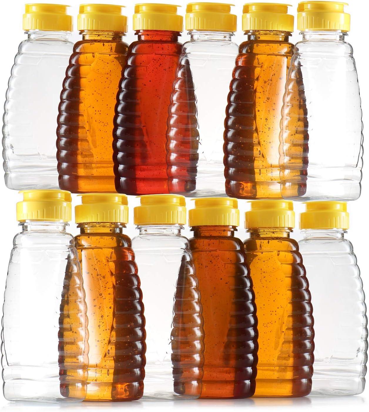 Empty Plastic Honey Bottles – Clear Plastic Honey Jars - PET Food Grade Plastic Honey Container Refill – Squeeze Honey Bottle With Leak Proof Flip-Top Caps For Easy Dispensing - BPA Free Food Safe