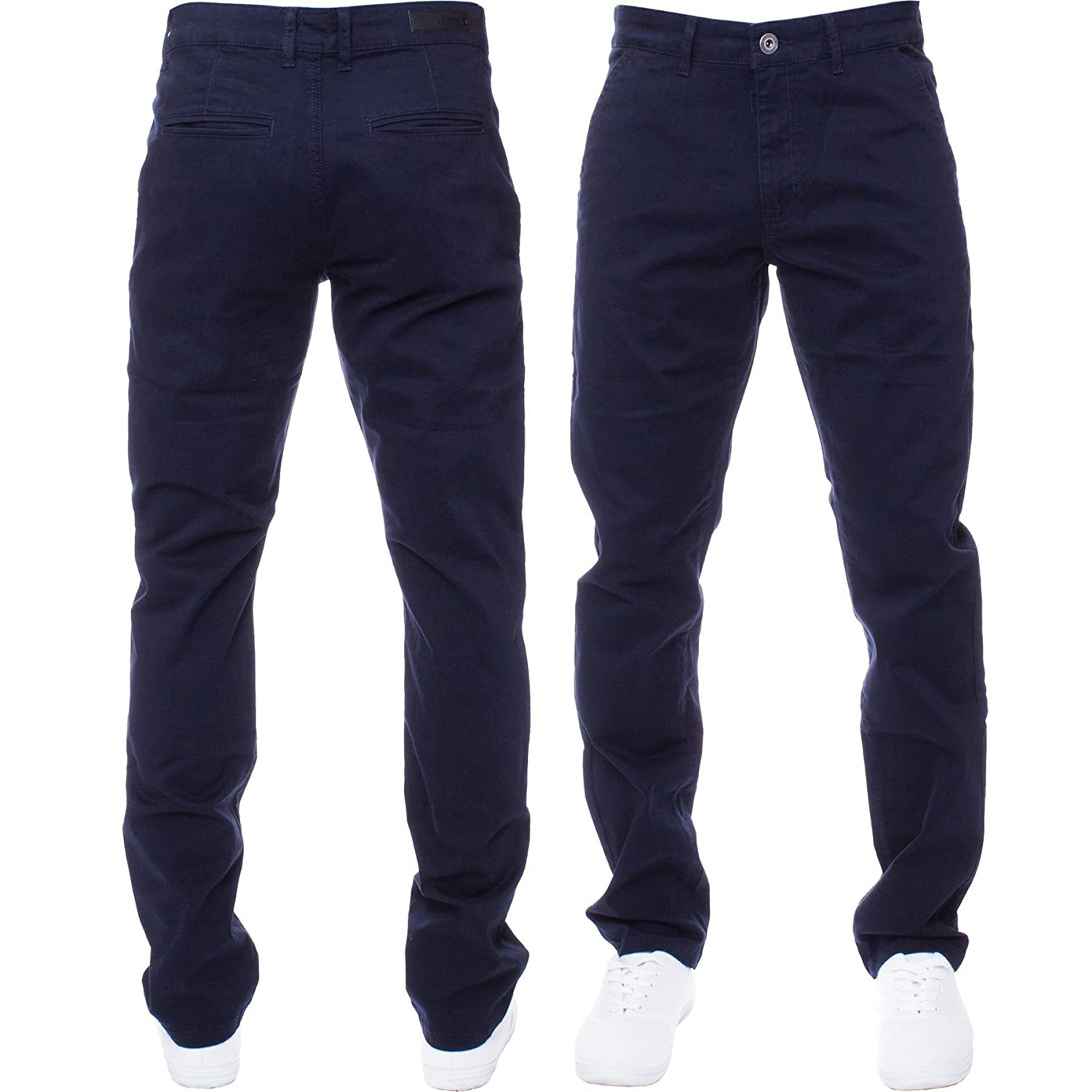 Enzo Mens Jeans Skinny Slim Fit Chinos Super Stretch Distressed Denim Trousers
