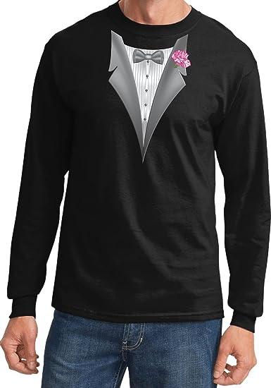 95c15c87 A&E Designs Black Tuxedo Tux with Pink Flower Carnation Long Sleeve T-shirt  Tee,