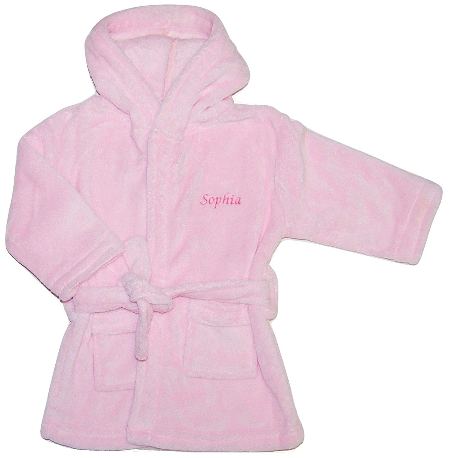 Nursery Time Baby Girl Personalised Dressing Gown Bathrobe Embroidered Pink (6-12 Months)