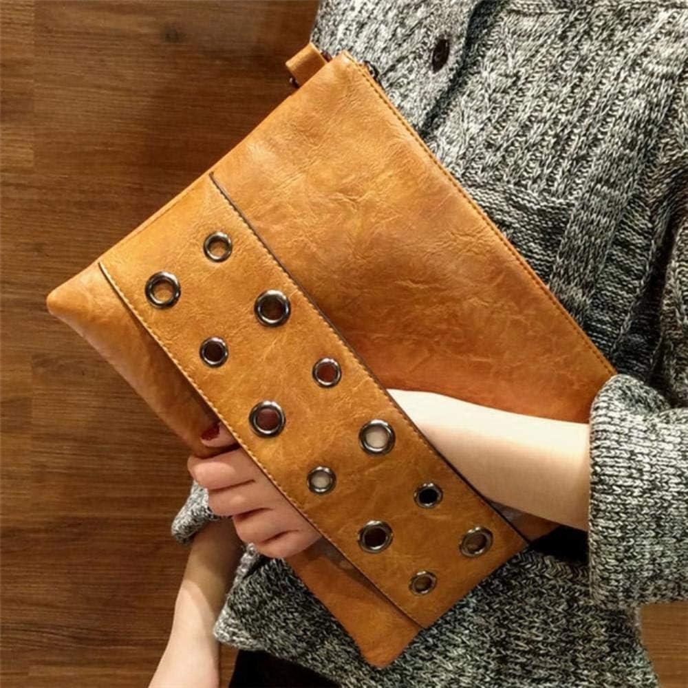 ABO - Bolso de mano de piel sintética para mujer, color negro y marrón Marrón