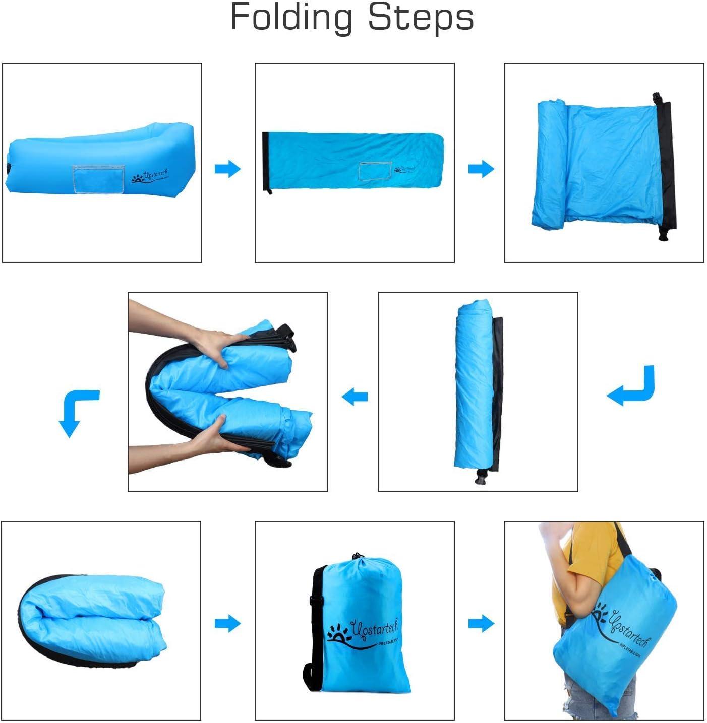 Qdreclod Canap/é Hamac Gonflable Air Sofa Matelas Gonflable Rapide Portatif Ext/érieur avec Tissu R/ésistant Aux D/échirures Canap/é Imperm/éable pour la Randonn/ée Les Pique-niques Le Camping
