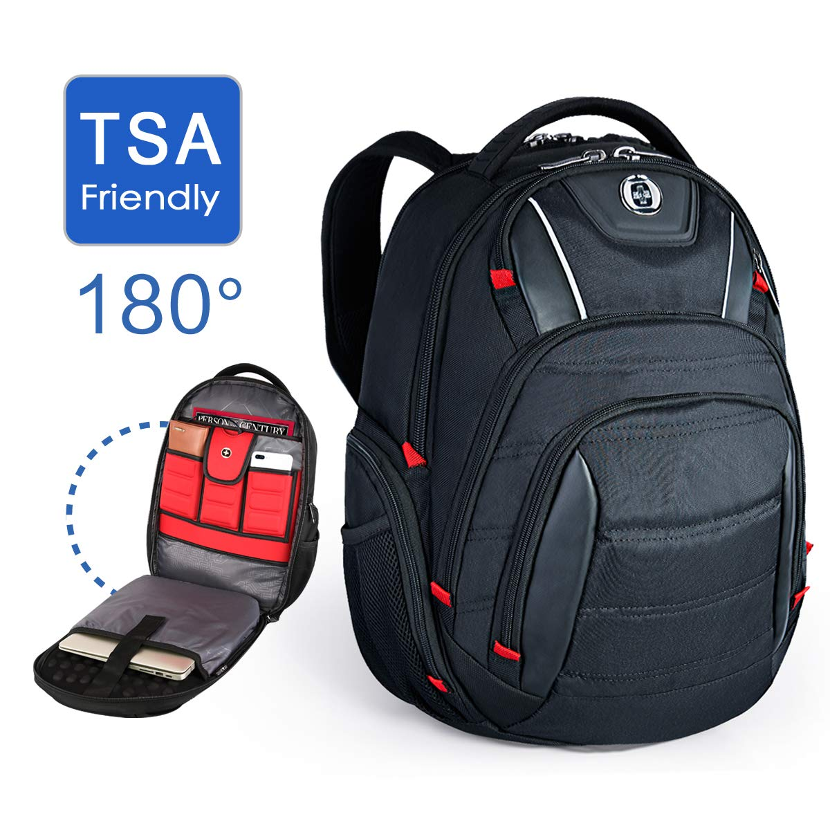 Swissdigital Laptop Backpack, Busniess Backpack USB Port,RFID Protection TSA Smart Scan Travel Fits Under 15.6-Inch Laptop Man, Black J14B-1G
