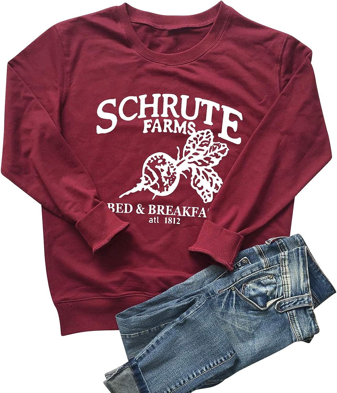 OUNAR Women Schrute Farms Shirt Cute The Office Graphic T-Shirt Sweatshirt with Pocket