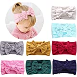 HOME-MART 8 Pack Baby Girl Nylon Bow Headbands Elastic Head Band Hairbands Newborn Soft Head Wraps Turban Knot Hair Hoops for Toddlers Little Girls Photo Props