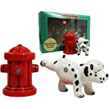 Peeing Dalmatian With Fire Hydrant Ceramic Salt Pepper Shaker Magnetic Set Figurines