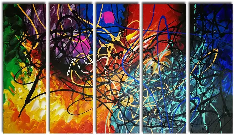 Wieco Art 5 Panels Abstract Heart Oil Paintings Reproduction on Canvas Wall Art Decor Ready to Hang for Home Office Decorations Extra Large Modern 100% Hand Made Contemporary Impressionist Artwork