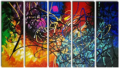 Wieco Art 5 Panels Abstract Heart Oil Paintings Reproduction on Canvas Wall Art Decor Ready to Hang for Home Office Decorations Extra Large Modern 100 Hand Made Contemporary Impressionist Artwork
