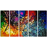 Wieco Art 5 Panels Abstract Heart Oil Paintings Reproduction on Canvas Wall Art Decor Ready to Hang for Home Office…