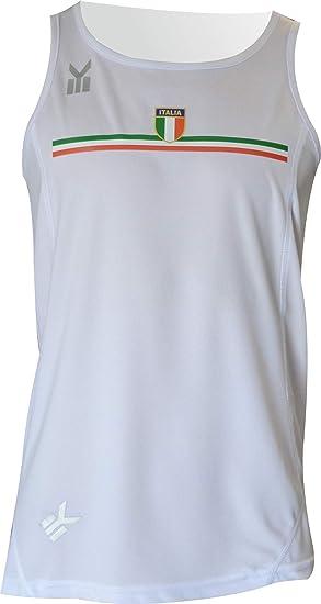 EKEKO SPORT Italia Camiseta de Tirantes Blanca Running, Atletismo, maraton, Carreras a pie, Camiseta Tecnica para la Practica Deportiva.: Amazon.es: Deportes y aire libre