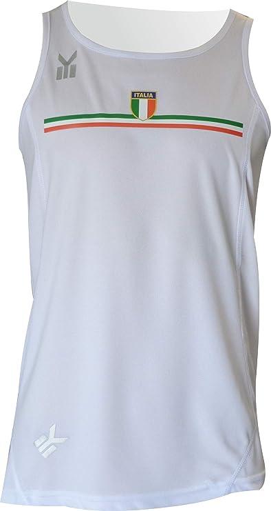 EKEKO SPORT Italia Camiseta de Tirantes Blanca Running, Atletismo ...