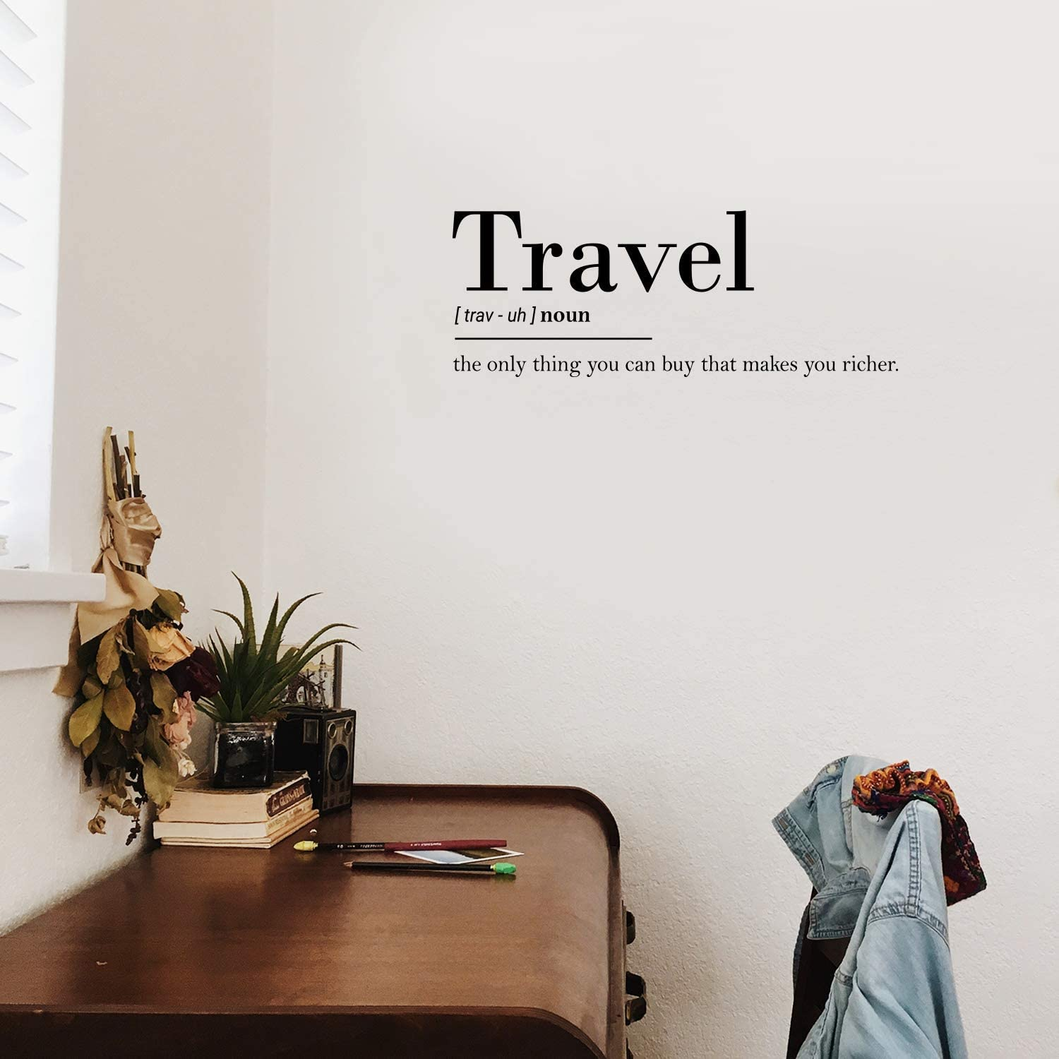 "Vinyl Wall Art Decal - Travel The Only Thing You Can Buy That Makes You Richer- 10"" x 27"" - Trendy Funny Optimistic Travel Quote Bedroom Living Room Office Coffee Shop Agency Travelers Decor (Black)"