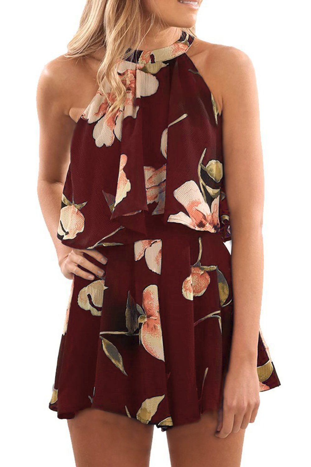 Pxmoda Women's Floral Print High Neck Pleated Romper Dress Overlay Jumpsuit (M, Red)
