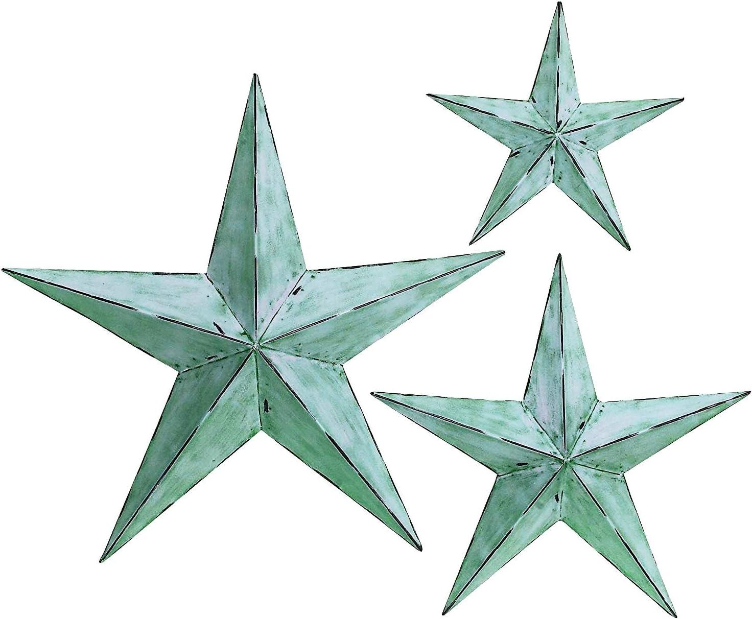 Bellaa 21352 Star Metal Wall Decor Set 3 Green Blue 12/18/24 inch (Greenblue, Large)