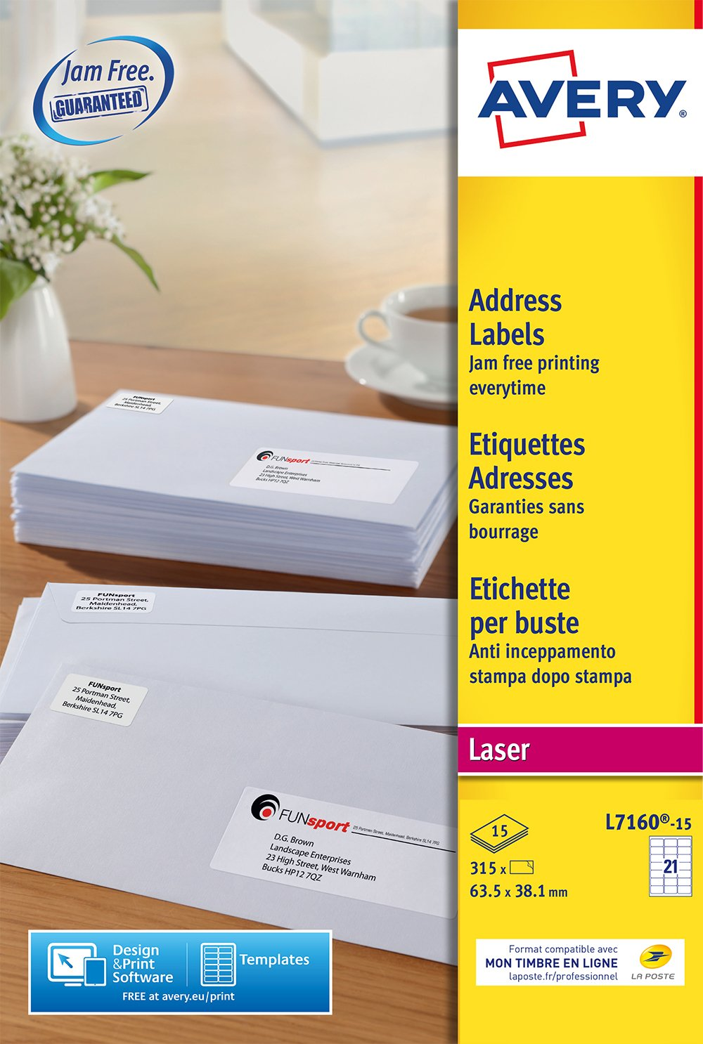 Avery España L7160-15 - Pack de 315 etiquetas blancas para ...