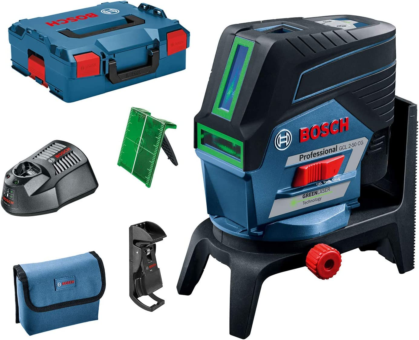 Bosch Professional GCL 2-50 CG Green Beam Combi Laser with RM2 Rotating Mount, Blue