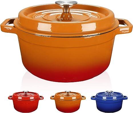 WISELADY Enameled Cast Iron Dutch Oven Bread Baking Pot with Lid 3QT, Blue