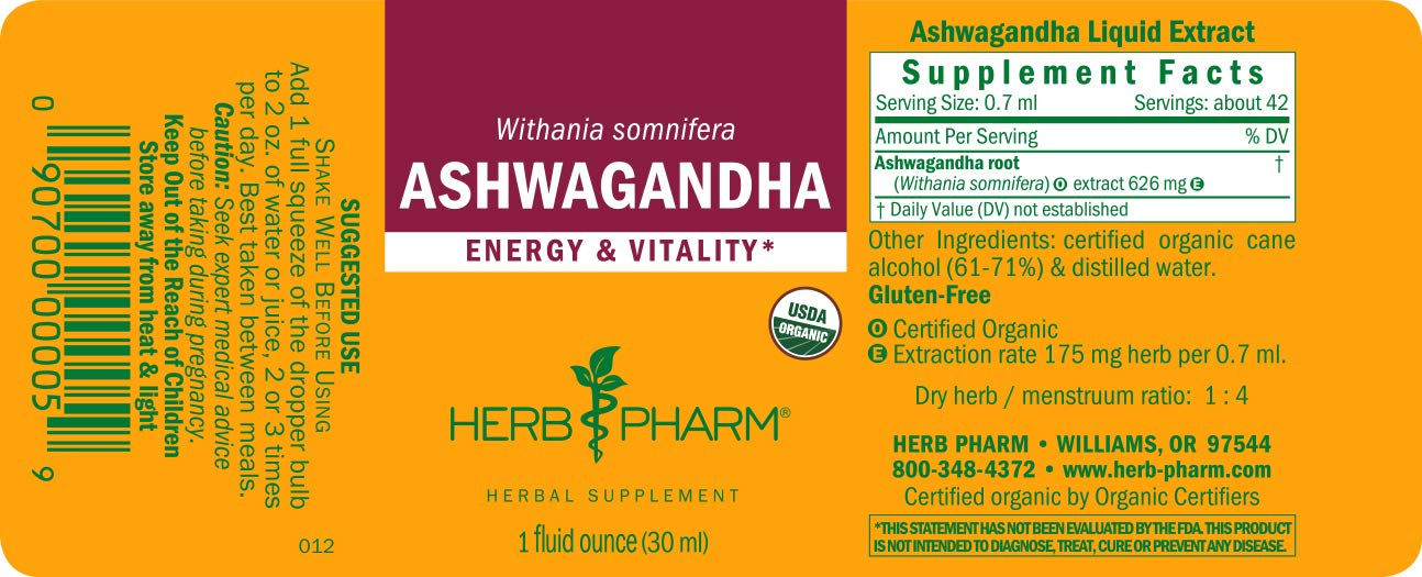 Herb Pharm Certified Organic Ashwagandha Extract for Energy and Vitality,  Organic Cane Alcohol, 1