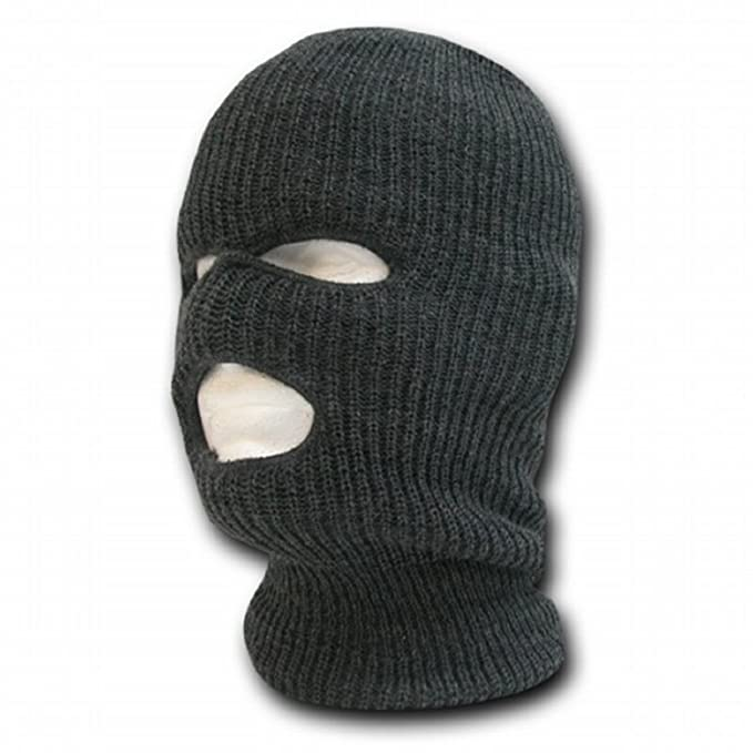 Decky 3 Hole Knit Ski Mask Cap Beanie Charcoal Grey One Size At