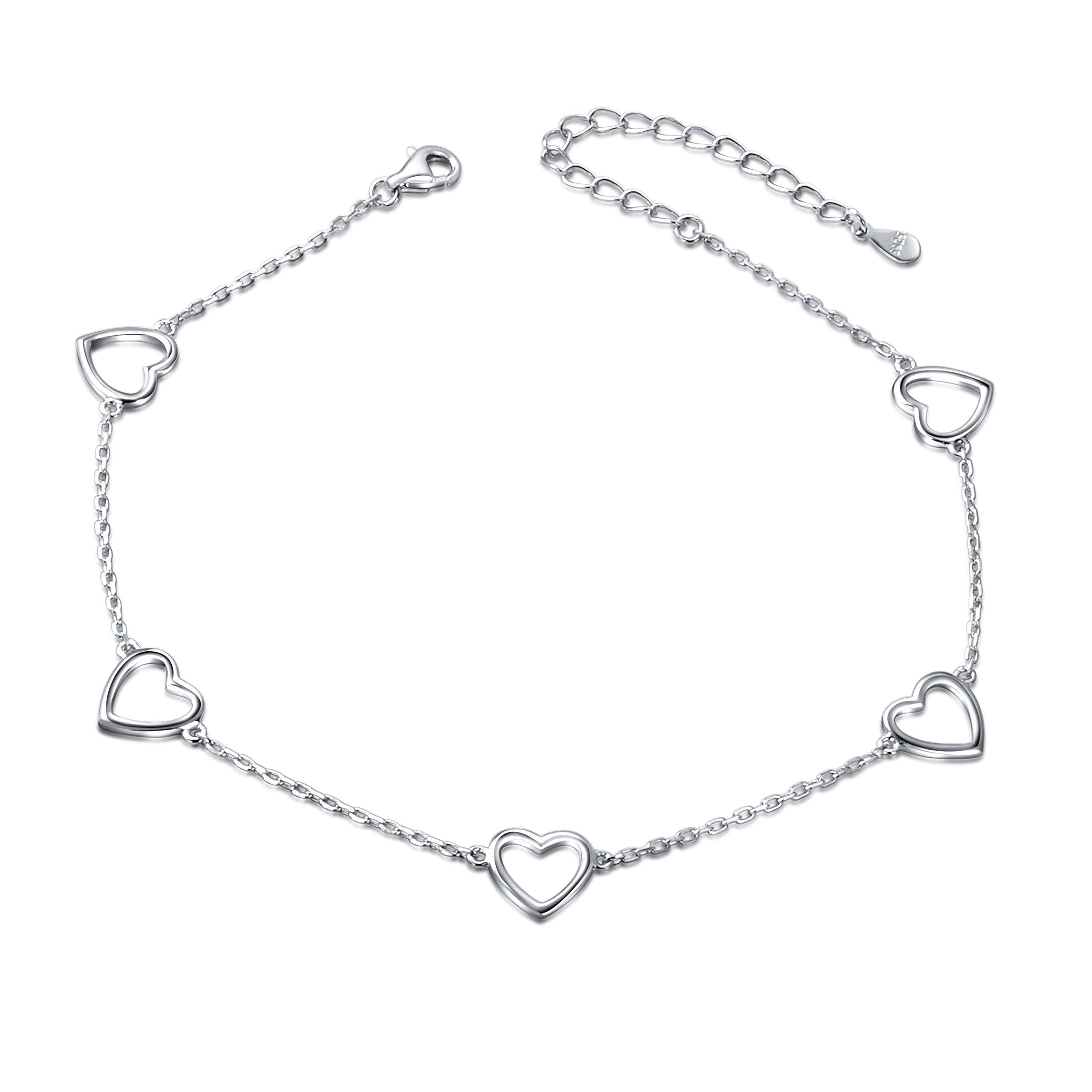 DAOCHONG heart Anklet for Women S925 Sterling Silver Adjustable Foot Ankle bracelet (Heart)