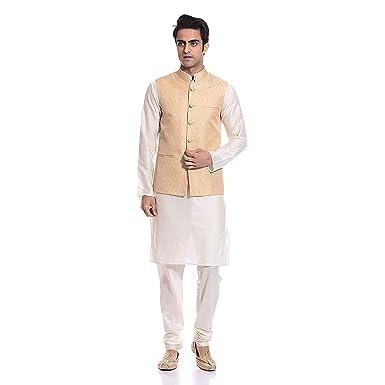 926e2011f3e Uri and MacKenzie Men s Cream Kurta Matching Pyjama Chudidar with Gold  Ethnic Nehru Jacket (36