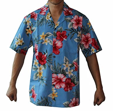 9d50649d3e Make in Hawaii Men's Hibiscus Floral Cruise Luau Hawaiian Aloha Shirt
