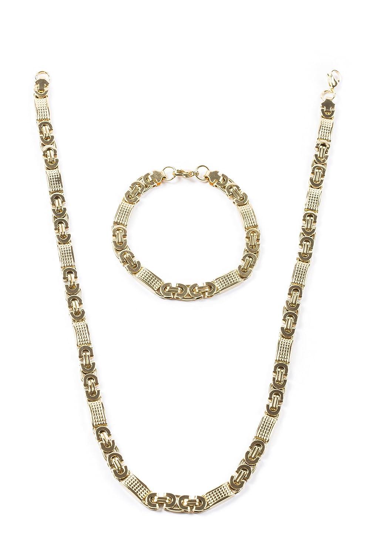 aurstore® Gioielli Parure Bracciale e catena uomo donna acciaio inox colore oro (acciaio inox) PARURE36