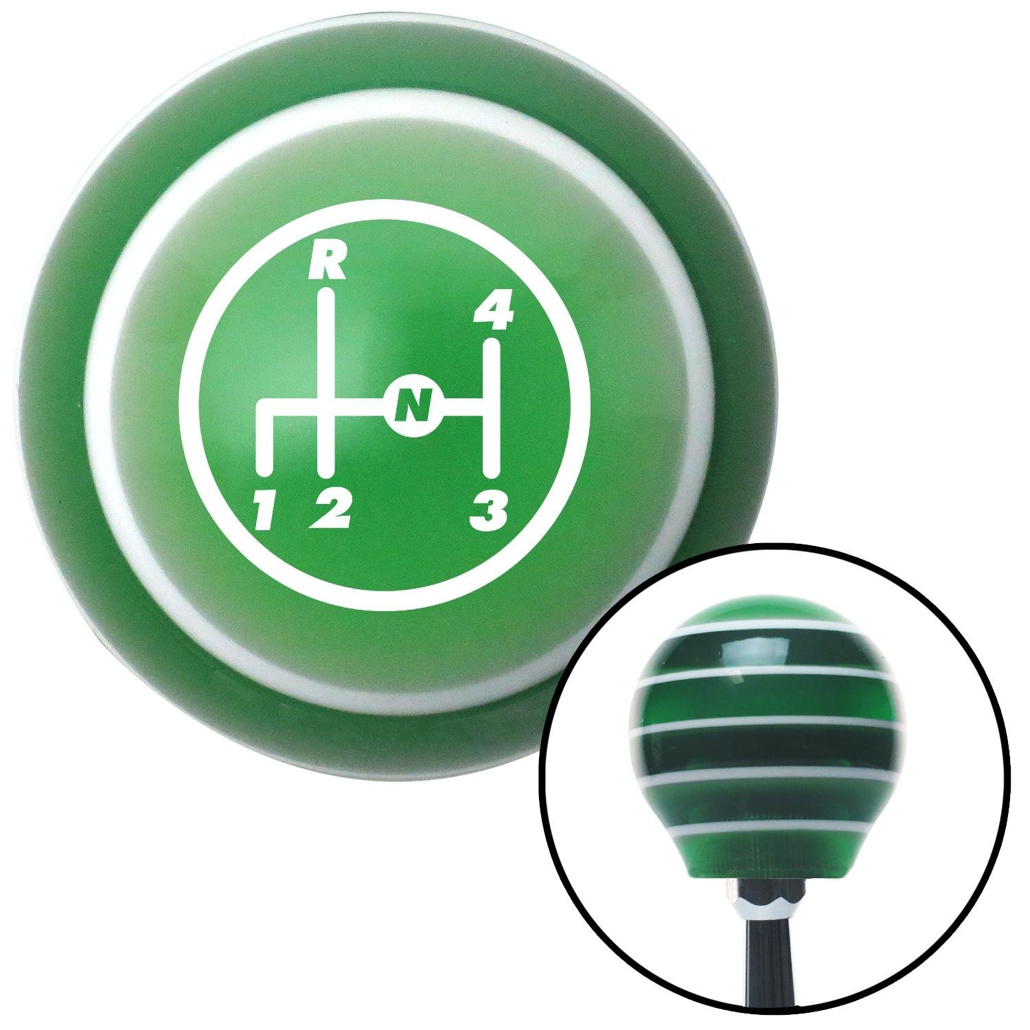 White 4 Speed Shift Pattern - 4UR-RDL American Shifter 126668 Green Stripe Shift Knob with M16 x 1.5 Insert