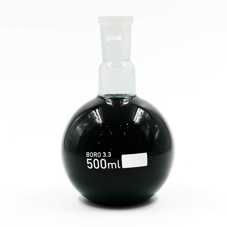 Flat Bottom Glass Flask 500ml Single Neck Boiling Flask RBF 24//40 Joint